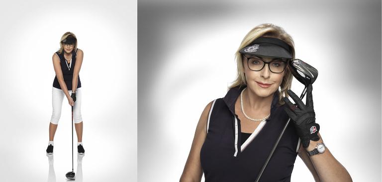 fotografia studyjna kobiety w stroju golfowym